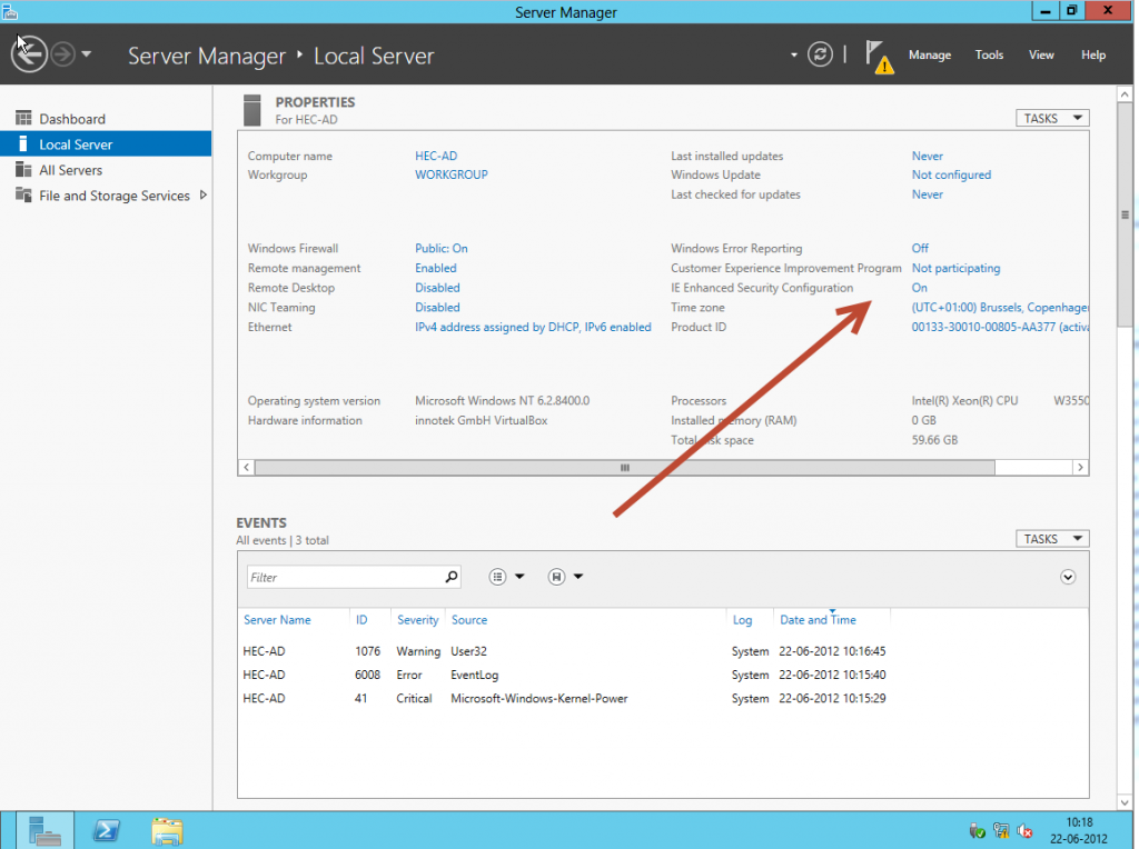 Disable IE enhanced security on Windows Server 2012
